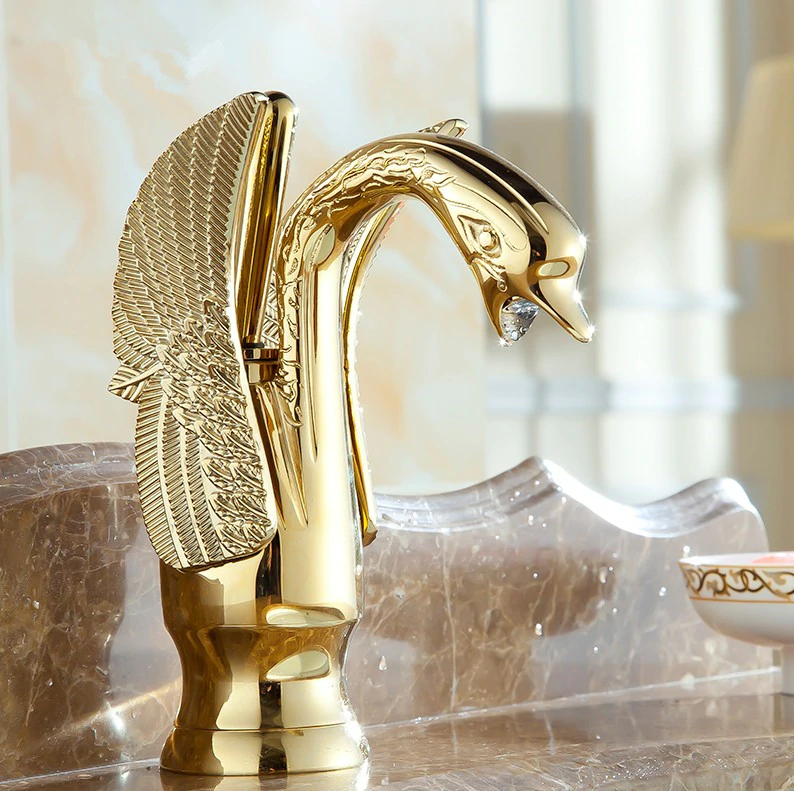 Gold Finished Swan Faucet Gold Water Taps & Faucets