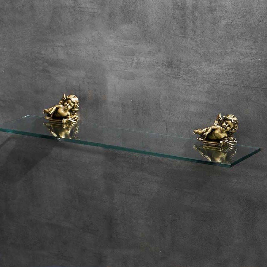 Bronze Angel Glass Shelf Gold Bathroom Accessories