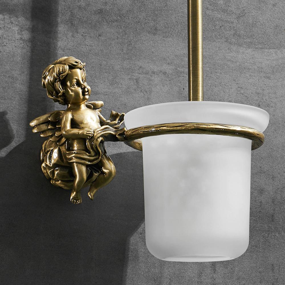 Bronze Angel Toilet Brush & Holder Gold Toilet Accessories