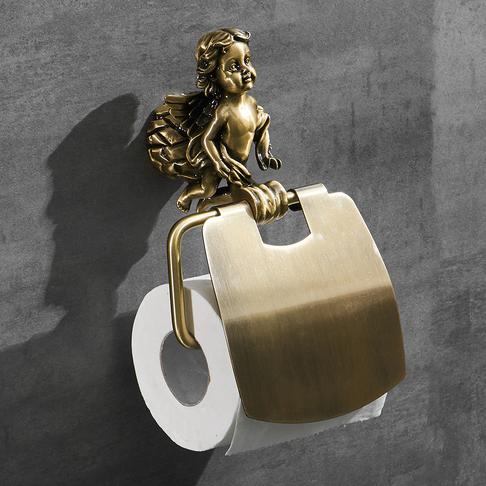 Bronze Angel Paper Holder Gold Toilet Accessories