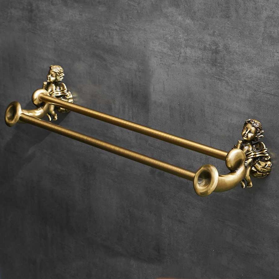 Bronze Angel Double Towel Bar Gold Bathroom Accessories