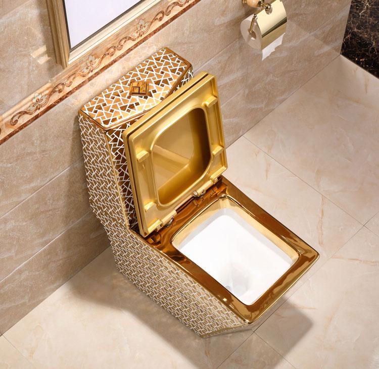 Angular Mosaic Gold Toilet Gold Toilets
