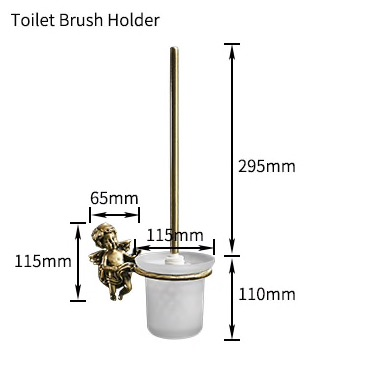 "Bronze ""Lovers"" Toilet Brush & Holder Gold Toilet Accessories"