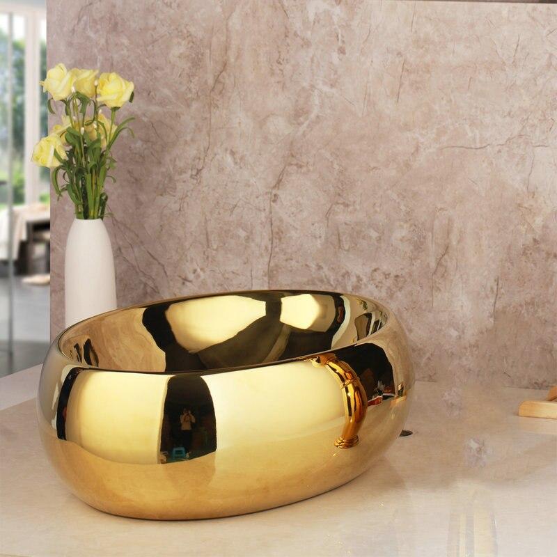 Golden Simple Bathroom Basin Gold Bathroom Basins