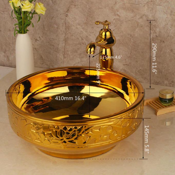 Golden High Polished Bathroom Basin With Engraved Leaves Gold Bathroom Basins