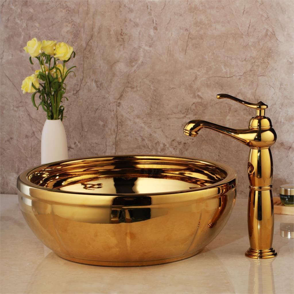 Golden High Polished Bathroom Basin Gold Bathroom Basins