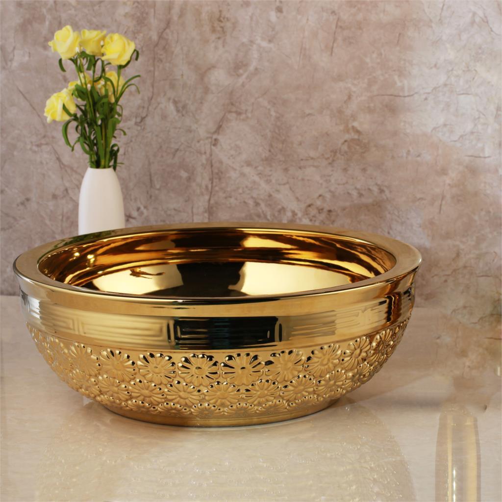 Golden High Polished Bathroom Basin With Flowers Gold Bathroom Basins