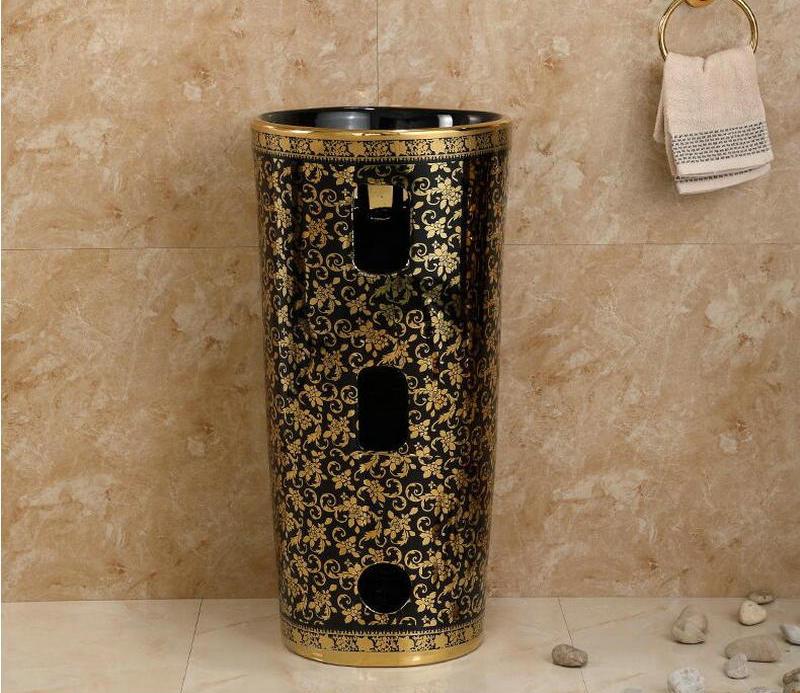 Black and gold pedestal basin Gold Bathroom Basins