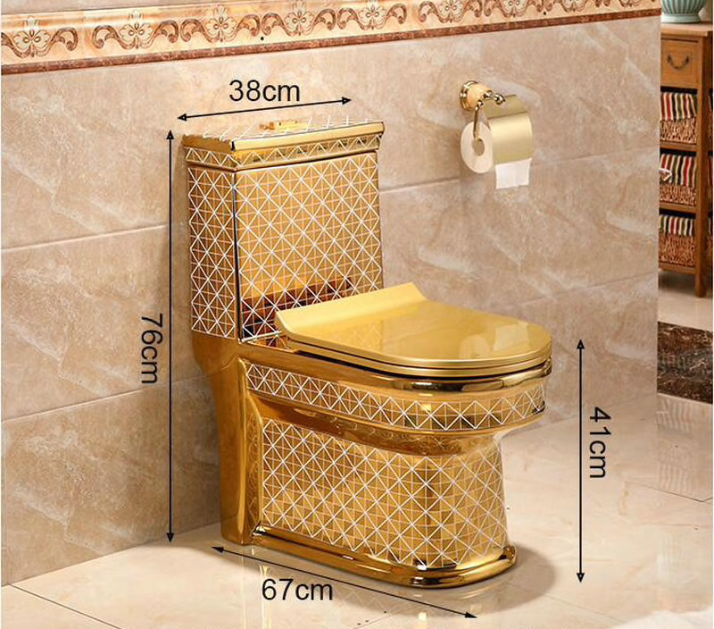 Gold Toilet With Diamonds Pattern Gold Toilets