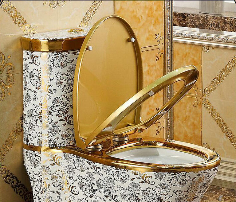 Luxury design toilet with gold ornaments Gold Toilets