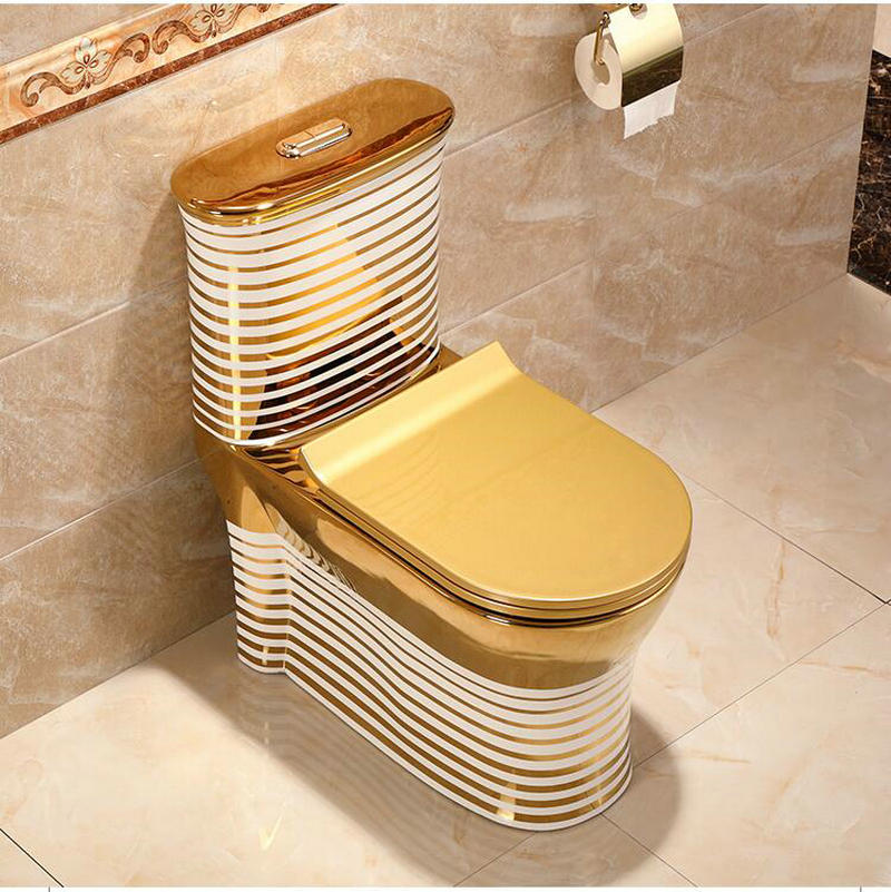 Gold Toilet With Horizontal White-Gold Patterns Gold Toilets