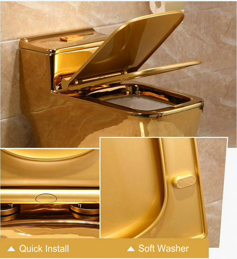 Plain Gold Toilet With Low Profile Water Tank Gold Toilets