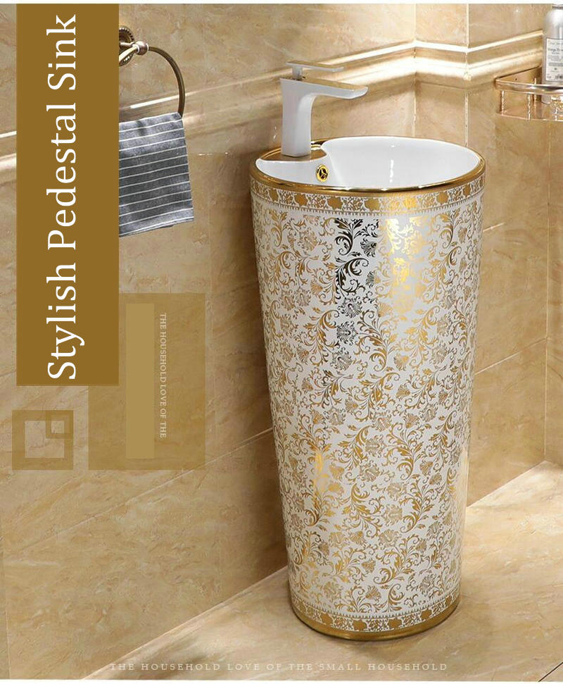 White and gold pedestal basin Gold Bathroom Basins