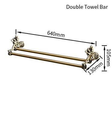 "Bronze ""Lovers"" Double Towel Bar Gold Bathroom Accessories"
