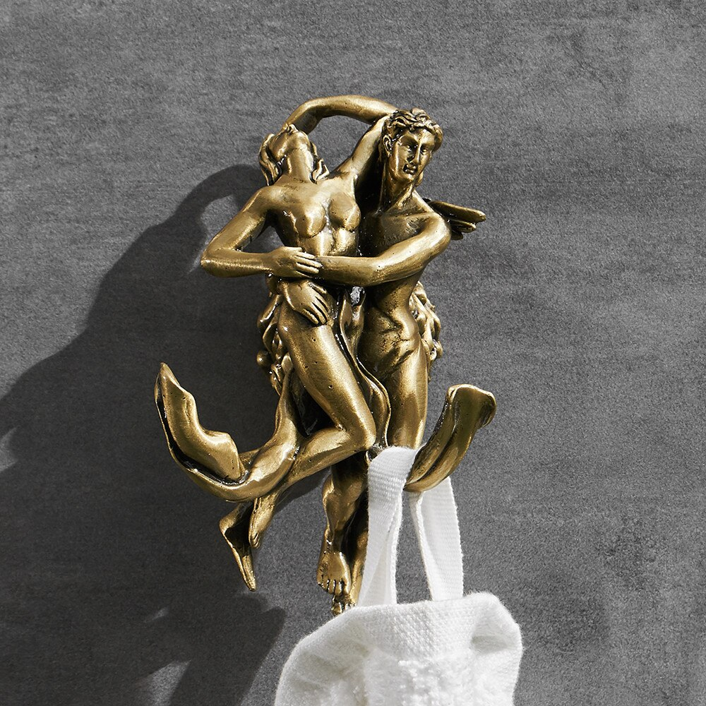 "Bronze ""Lovers"" Robe Hook Gold Bathroom Accessories"