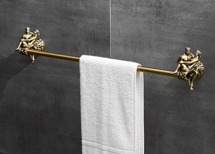 "Bronze ""Lovers"" Single Towel Bar Gold Bathroom Accessories"