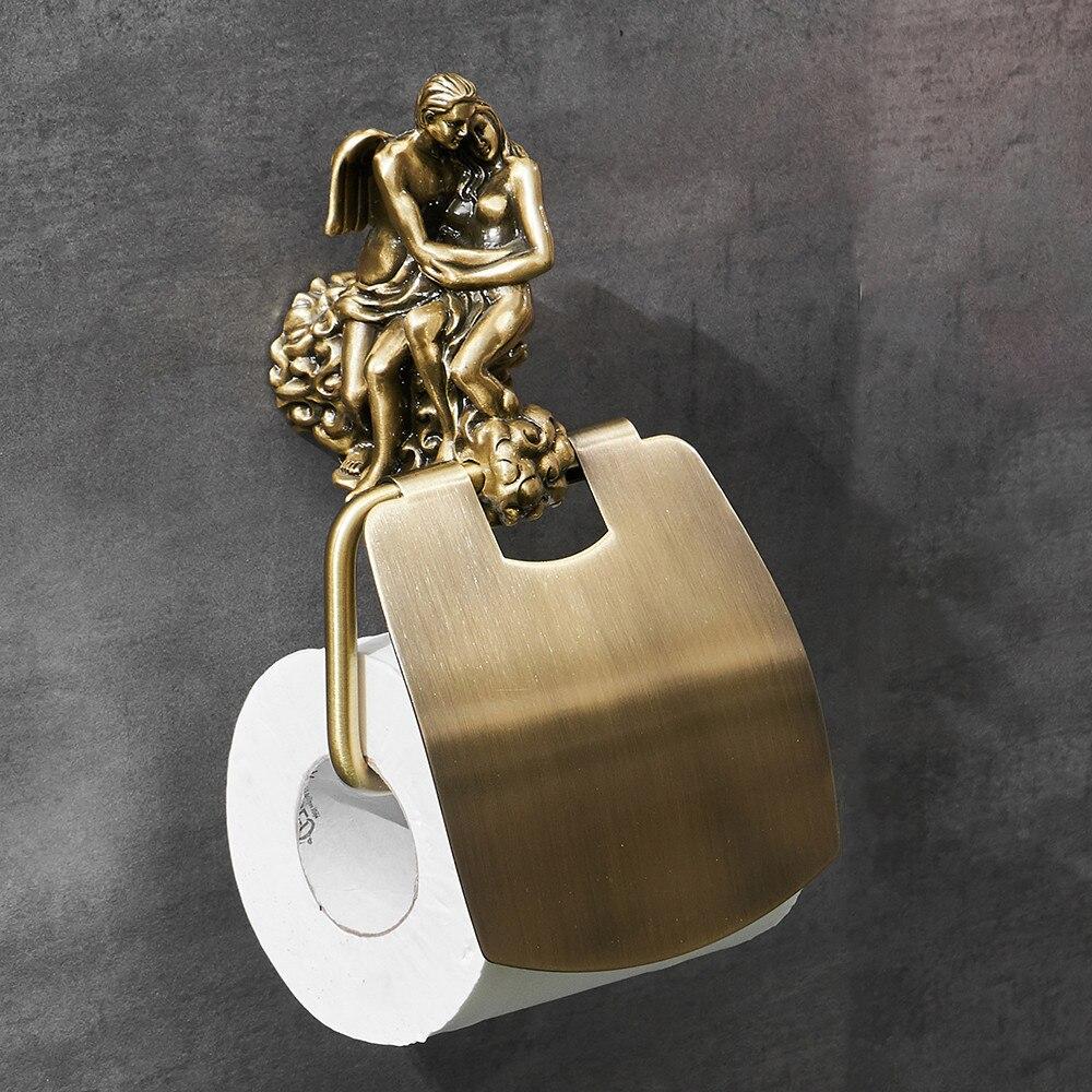 "Bronze ""Lovers"" Toilet Paper Holder Gold Toilet Accessories"