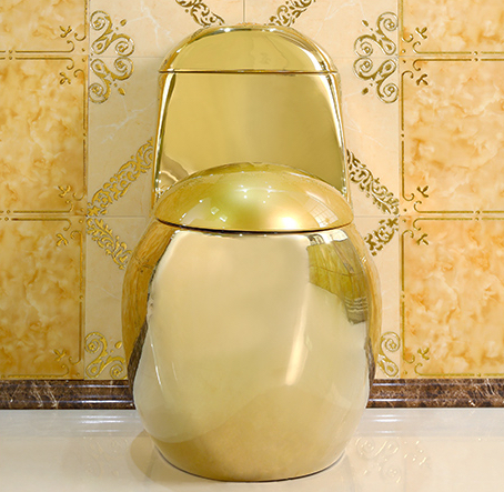 Curved-Shaped Plain Gold Toilet Gold Toilets