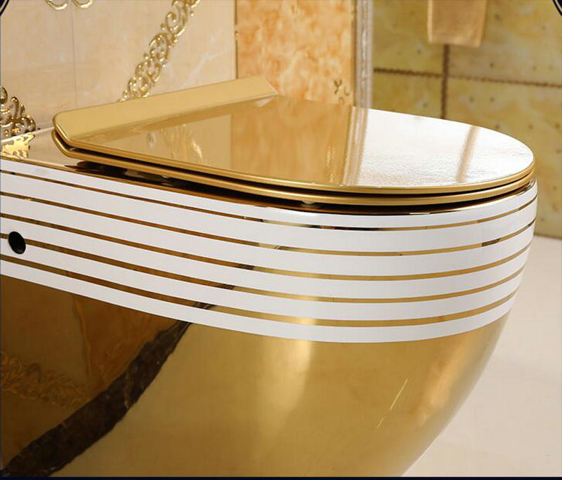 Wall Mounted Gold Toilet With Horizontal White Lines Gold Toilets
