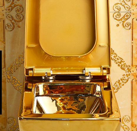 Angular Plain Gold Toilet Gold Toilets