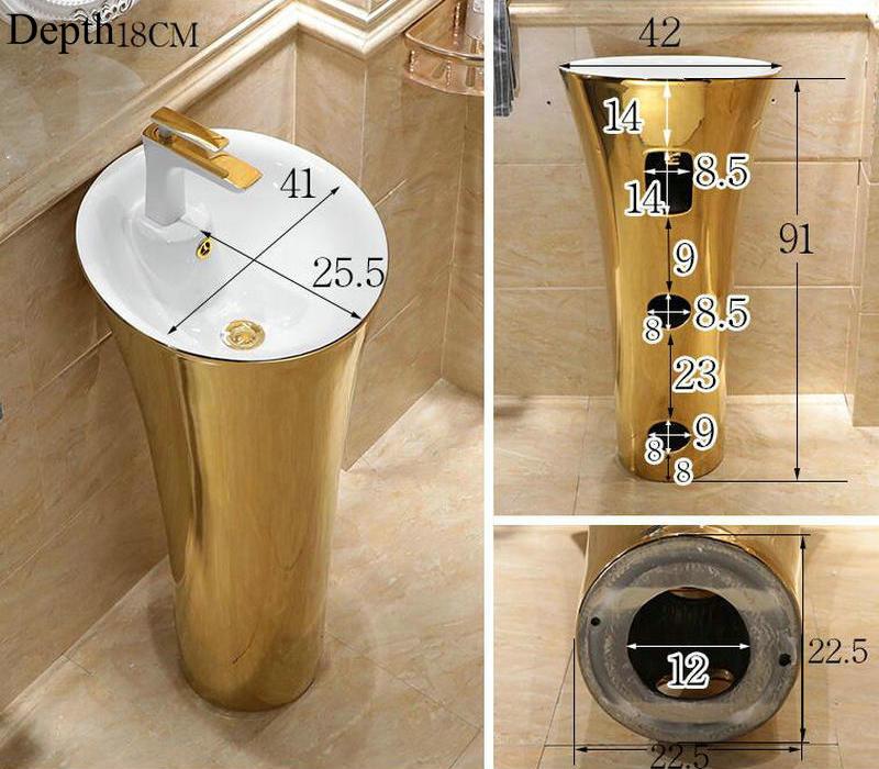 Plain gold pedestal basin Gold Bathroom Basins