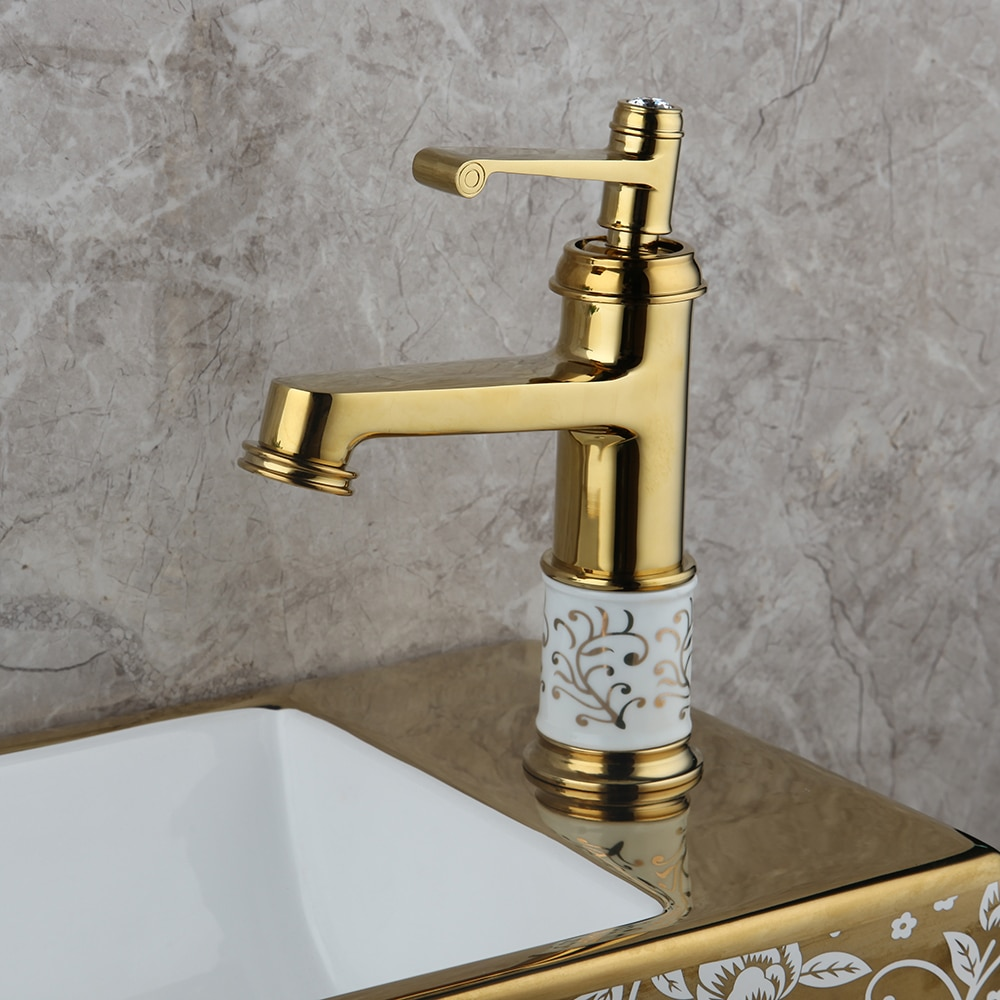 Modern Gold Basin Faucet With Diamond Handle Gold Water Taps & Faucets