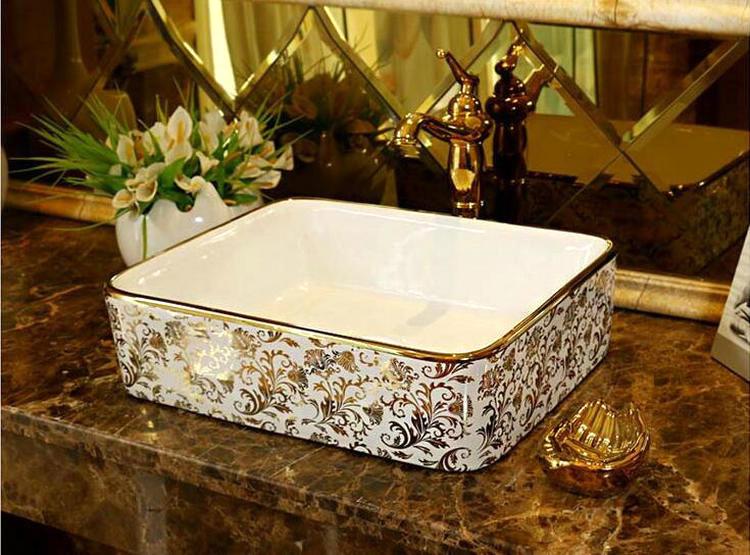 Luxury White & Gold Rectangular Bathroom Basin Gold Bathroom Basins