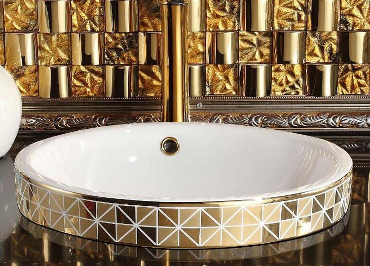 Gold Bathroom Basin With Diamond Pattern, Round Gold Bathroom Basins