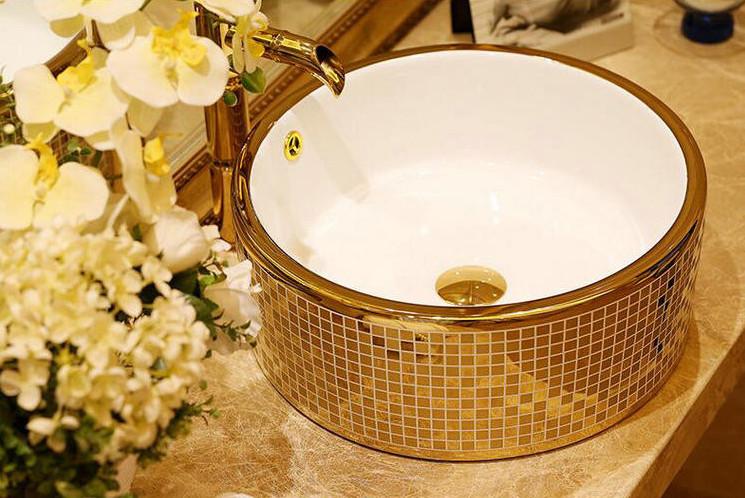 Round Mosaic Gold Bathroom Basin Gold Bathroom Basins