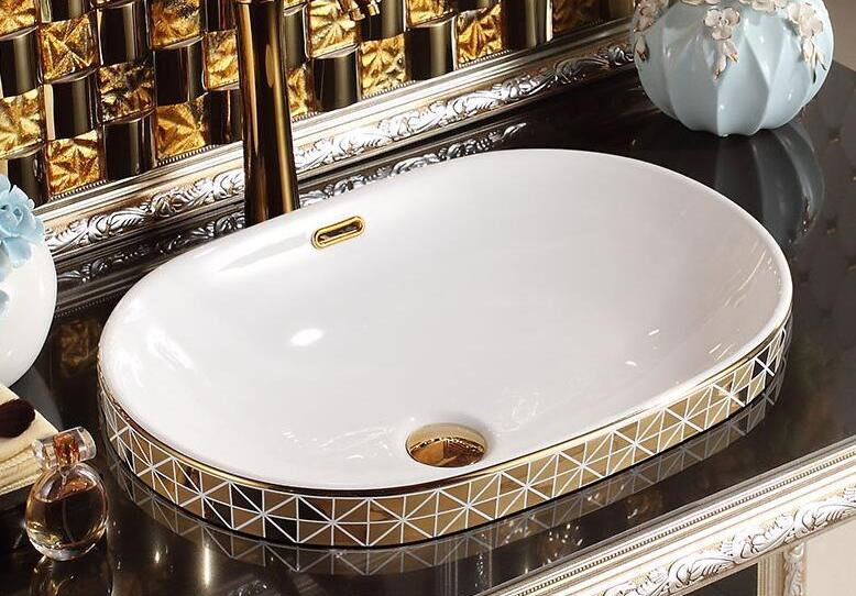 Gold Bathroom Basin With Diamond Pattern, Oval Gold Bathroom Basins