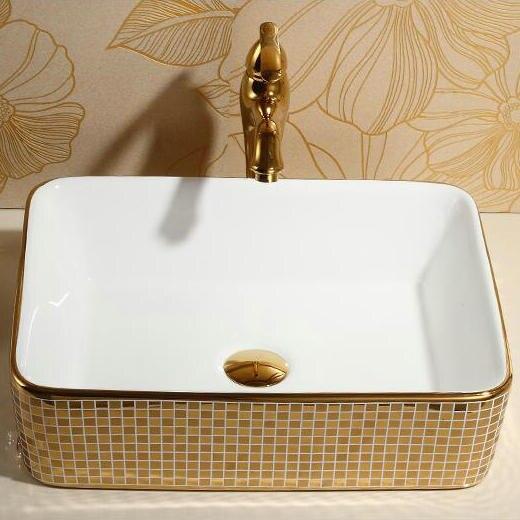 Rectangular Mosaic Gold Bathroom Basin Gold Bathroom Basins