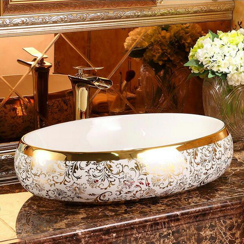 Luxury White-Gold Bathroom Basin Gold Bathroom Basins