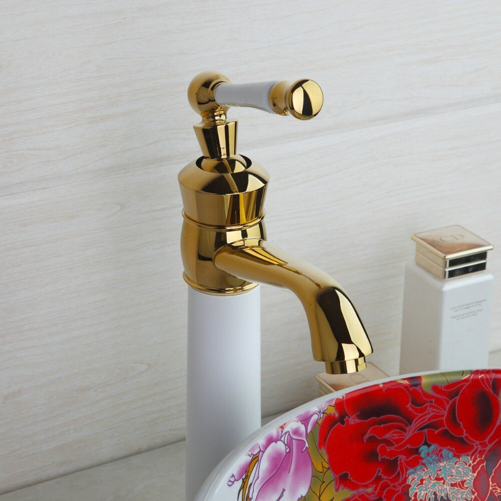 White & Gold Bathroom Basin Faucet Gold Water Taps & Faucets