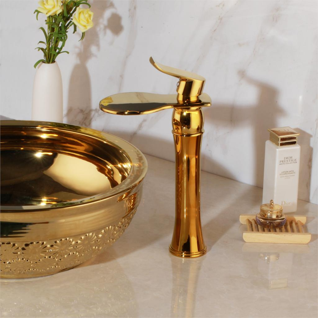 Modern Gold Bathroom Waterfall Faucet Gold Water Taps & Faucets