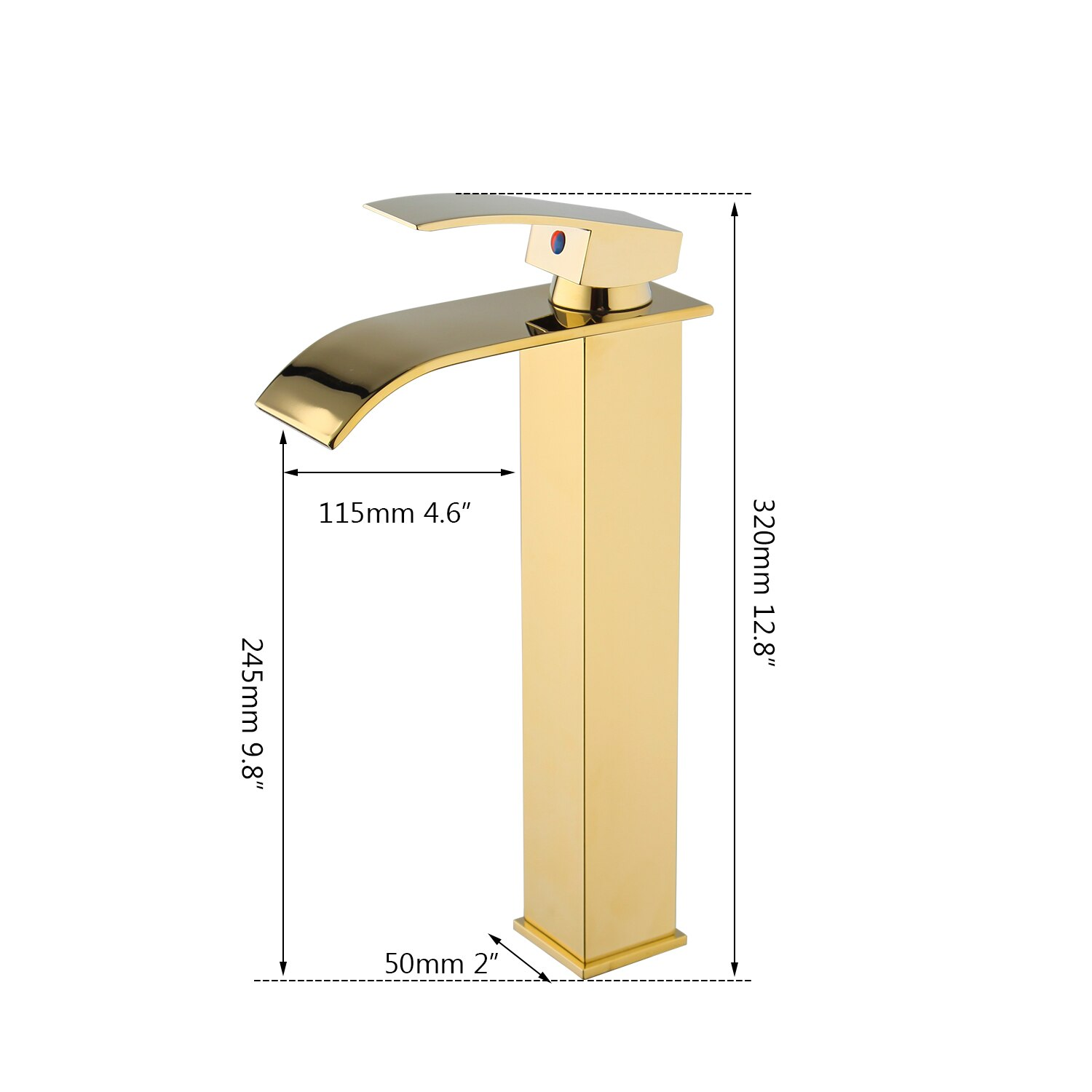 Angular Gold Waterfall Bathroom Faucet Gold Water Taps & Faucets