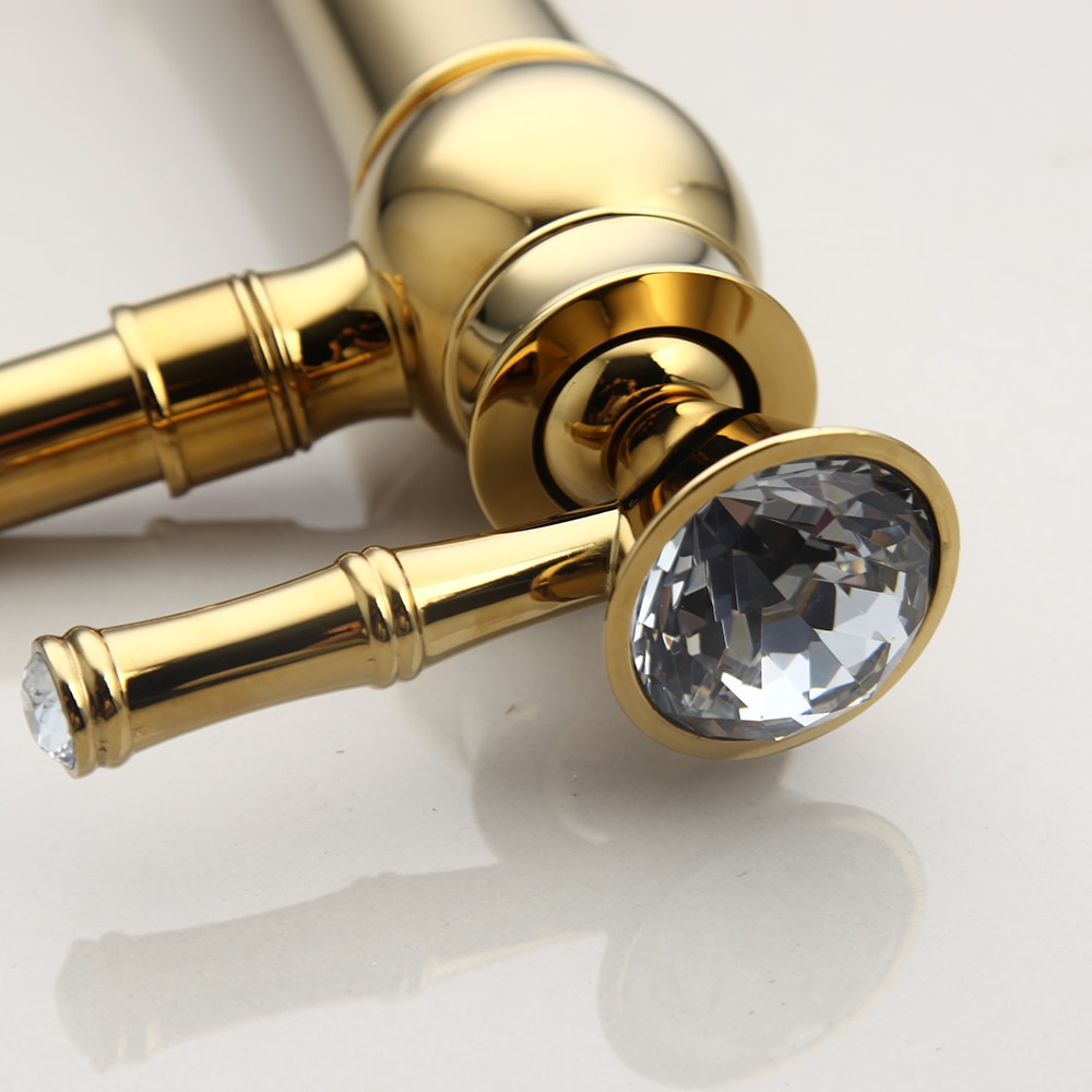 Gold Bathroom Basin Faucet With Diamond Handle (Long) Gold Water Taps & Faucets