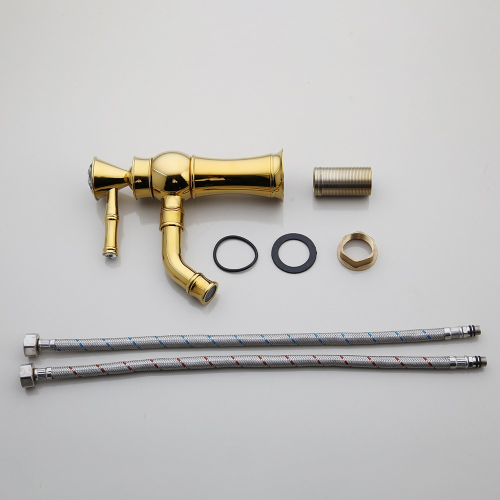 Gold Bathroom Basin Faucet With Diamond Handle (Short) Gold Water Taps & Faucets