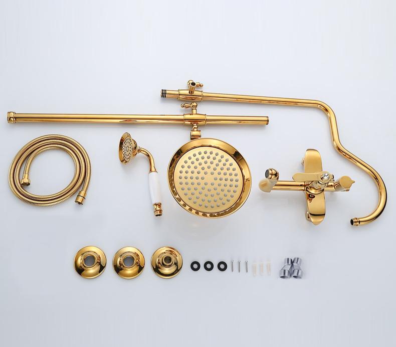 Gold Bathroom Shower Set With Diamond Handle Gold Shower Sets & Bathtub Faucets