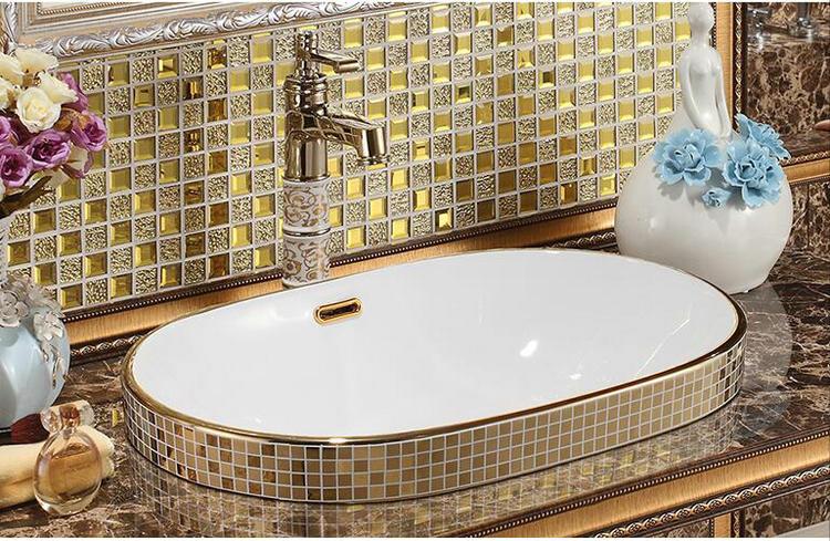Mosaic Gold Bathroom Basin, Oval Gold Bathroom Basins
