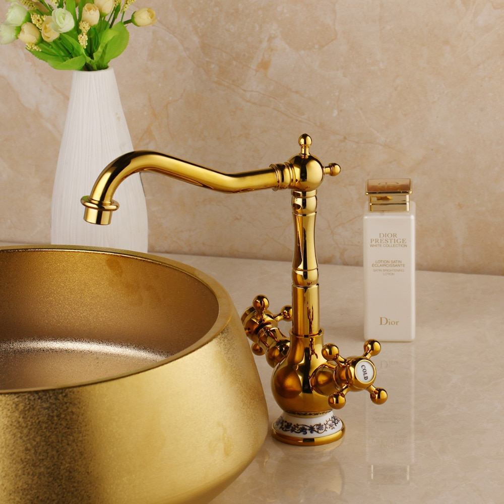 Vintage Gold Bathroom Basin Faucet Gold Water Taps & Faucets