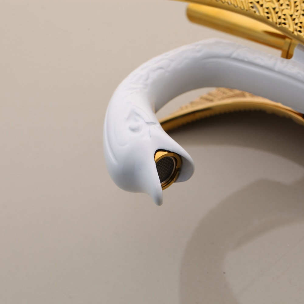 White & Gold Swan Faucet Gold Water Taps & Faucets