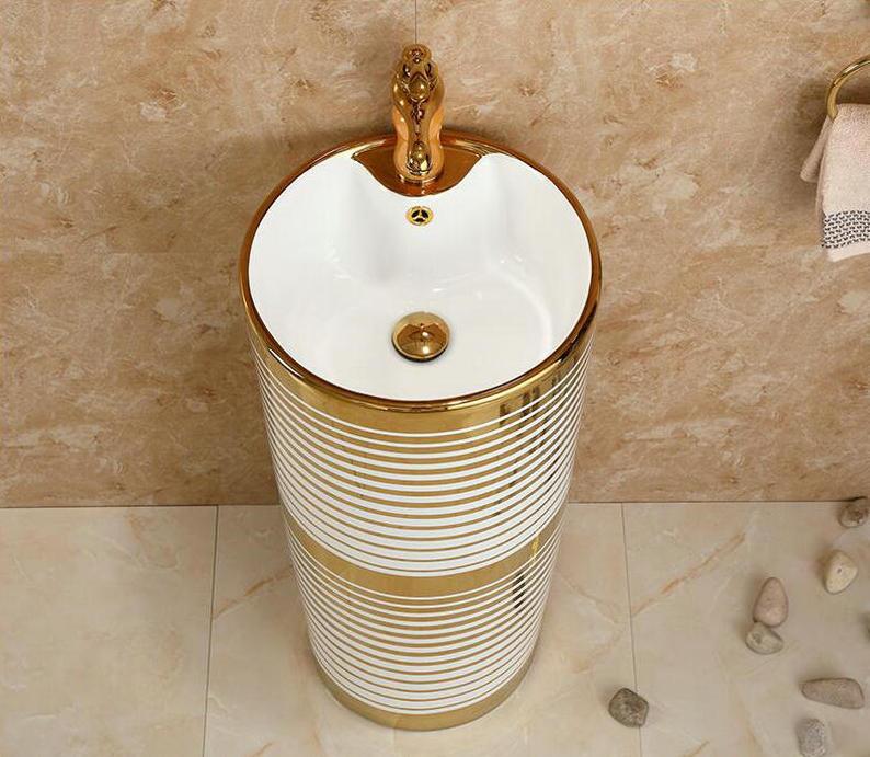 Pedestal Basin With Horizontal White-Gold Patterns Gold Bathroom Basins